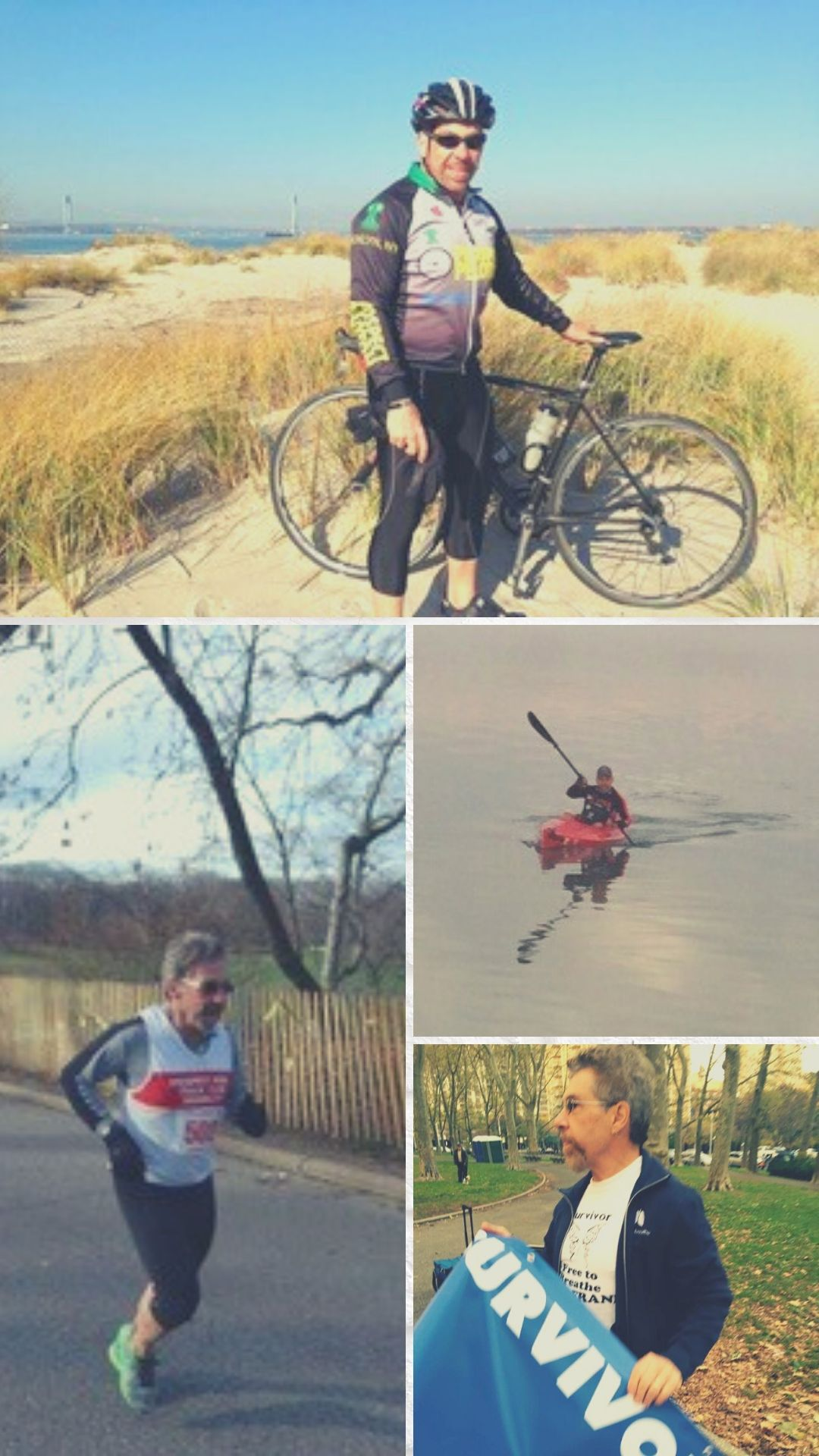 Images of Frank running, biking, kayaking and advocating for lung cancer research and treatment