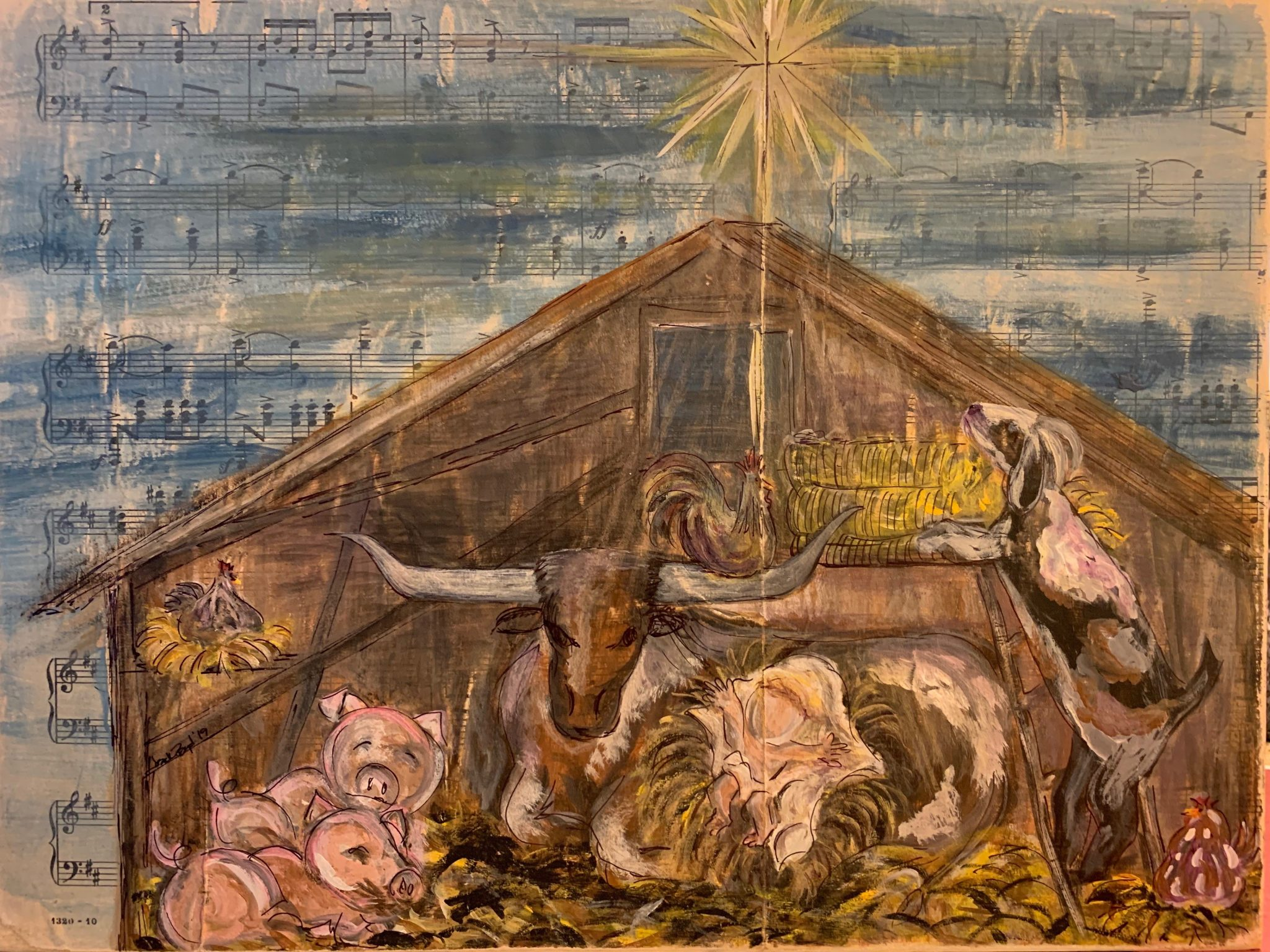 Nativity Scene Painted on Sheet Music